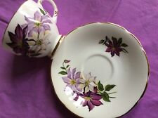 DELPHINE Bone China Tea Cup & Saucer*Purple Flowers with Gold Trim*England