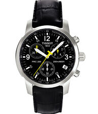 TISSOT PRC 200 T17.1.526.52 CHRONOGRAPH MENS WATCH BLACK LEATHER QUARTZ