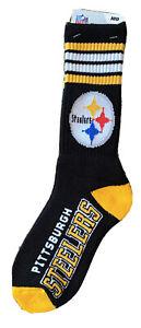 Pittsburgh Steelers Socks 4 Stripe Deuce Crew Socks Size Medium Black NEW
