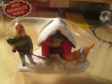 "Lemax - ""Digging out the Doghouse"" - Christmas Village (New) Boy Shovel Dog"