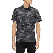Calvin Klein Mens Black Camouflage Collar Button-Down Shirt L BHFO 2072