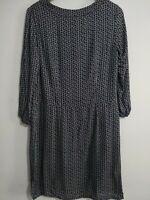 BRORA Shift Dress Charcoal Black Geometric Print Size UK 10 Long sleeves Modest