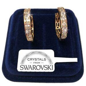 Cerchi Orecchini grandi pl.oro Oro 18K con cristalli swarovski Uomo Donna S17