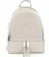 Michael Kors Rhea Zip Medium Perforated Leather Cement Grey Backpack Back pack