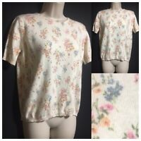 Vtg 90s M&S Women's UK 12 Angora Wool Mix Knit Jumper Floral Sweater Pullover