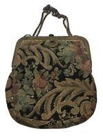 Antique Tapestry Purse Floral Acanthus Art Deco Evening Bag Handbag Silk Lining