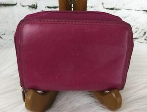 "Buxton Genuine Leather Wallet Magenta Pink Mini Bifold 4"" X 2.5"""