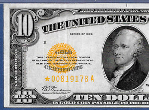 "1928 $10  ""GOLD CERTIFICATE""   ♚STAR♚  ♚STAR♚  PMG CH VF 35   GREAT COLOR!!!"