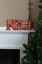 NOEL LIGHTED SIGN Red Metal Christmas Holiday Mantle Wall Decoration Marquee NEW