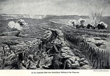 1916 argonnen: in prima linea di una posizione francese * antique print