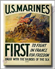 US Marines First to Fight WWI Canvas Poster Print 2D