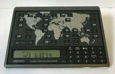 SEIKO Clock World Time Rate Exchanger World Map Vintage YJ22-4000 EK403N
