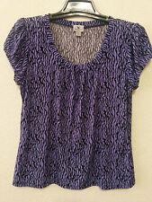 Worthington Womens Top Size XL Black & Purple Stretch Blouse Pullover Shirt