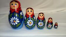 """Vintage Nesting Dolls 5 pcs Blue and Red 4"""""""