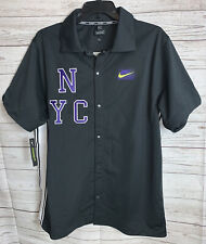 Men's Nike Ny Court Tennis Nyc Black Button Down Shirt Cj3300-045 Size Large