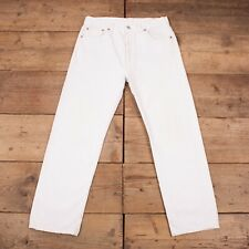 """Vintage 80s Levis 501 White Straight Fit Denim Jeans USA Made 34"""" x 30"""" R18106"""