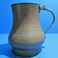 Antique Hand Forged Turkish Copper Pitcher Handled Footed Primitive Water Jug