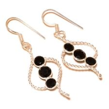 Faceted Black Onyx Gemstone silver plated Handmade wire wrapped Bezel Earrings