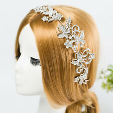 Crystal Rhinestone Wedding Bridal Tiara Floral Headpiece Hair Jewelry Silver NEW