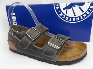 Birkenstock Milano BS,  Women's SZ 5.0 M, Iron Waxy Leather Sandals,  16705