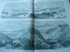 Grande Gravure 1866 - Le Port de Pola sur Adriatique et panorama du Cattaro