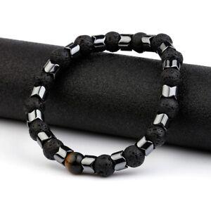 Männer Herren Armband Modeschmuck Vulkangestein Hämatit Lava Stein Trend Elegant