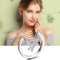 925 Silber Ring mit Kette Anhänger Zirkonen