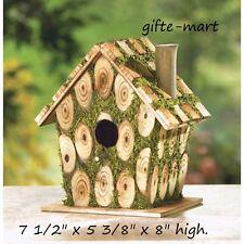 Natural look Wood Knots Wooden moss fairy cabin Bird house decorative birdhouse