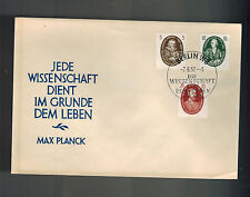1957 Berlin East Germany DDR Max Planck Cover # 65 59 62