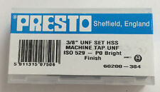 """Presto UK 3/8"""" x 24tpi HSS UNF Set of 3 taps / Direct from RDGTools"""