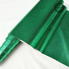Metallic Lychee Leather Fabric Vinyl Foil Faux Leatherette Decor Material Solid