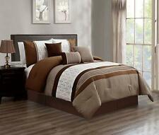 7 Pieces Luxury Embroidery Bed in Bag Microfiber Comforter Set Camel, Cal King