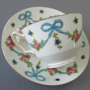 Vintage CROWN STAFFORDSHIRE Bone China Cup + Saucer Pink ROSES Blue BOWS Swags