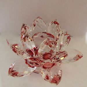 Crystal Lotus Flower Figurine Paperweight -clear with red- beautiful