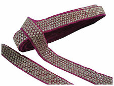9mtr border lace trim, velvet rani pink base, 5 row gold embroidery n sequins