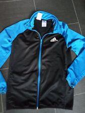 Adidas boys age 13-14 blue black tracksuit top jacket