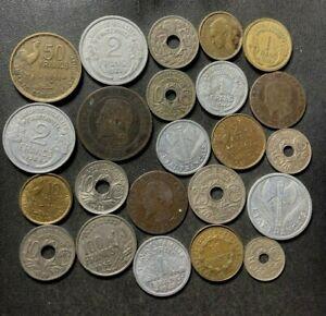 Vintage France Coin Lot - 1854-1955 - 22 Excellent Coins - Lot #A1