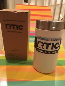 RTIC Double Wall Vacuum Insulated Food Container White SS., 25oz Cold/Hot