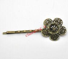 2pz basi forcine fermacapelli fiore colore bronzo  6.6x2.6cm