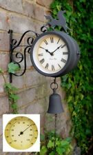 Horse Bell Outdoor Wall Clock Thermometer Garden Wall Station Bracket Black15cm