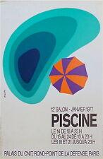 Affiche quadri Piscine 12ème salon 1977 Palais du CNIT La Défense Paris P 749
