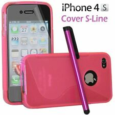 Cover Custodia Silicone Gel TPU S-Line Rosa Per iPhone 4/4G/4S + Pellicola Pen