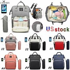 LEQUEEN Mummy Nappy Diaper Bag Nursing Baby Care Backpack With USB Charging Port