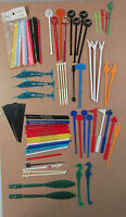 Vintage Lot of 89 Plastic Swizzle Stir Sticks Airlines Bars Hotels Playboy