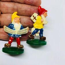 Lot of 2 ~ Vtg Hard Plastic Miniature Gnome Elf Pixie Fantasy Figurines ~ German