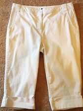 ANA Womens White Stretch Thick Twill Capris Cropped Pants 16