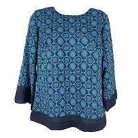 Ann Taylor LOFT Blue Geometric Print Blouse Sz XS 3/4 Sleeve Loose Sleev