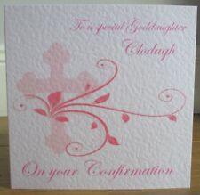 Cross & Flourish Pink Personalised Confirmation Card Daughter Granddaughter