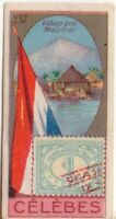 Celebes Indonesia Pre-WWII Trade Ad Card Showing Postage Stamp Flag
