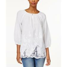 Charter Club 8829 Womens White Cotton Embroidered 3/4 Sleeves Blouse L BHFO